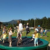 Trampoline at the adventure playground