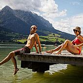 Enjoying the Walchsee in Kössen